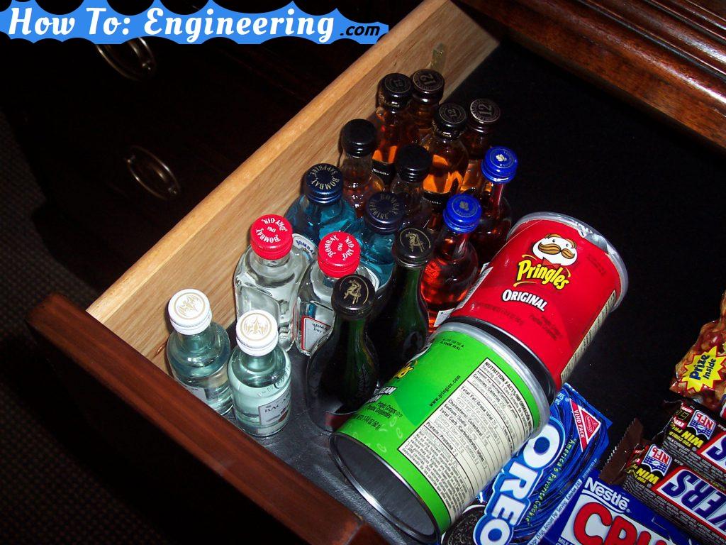 hotel mini bar drawer