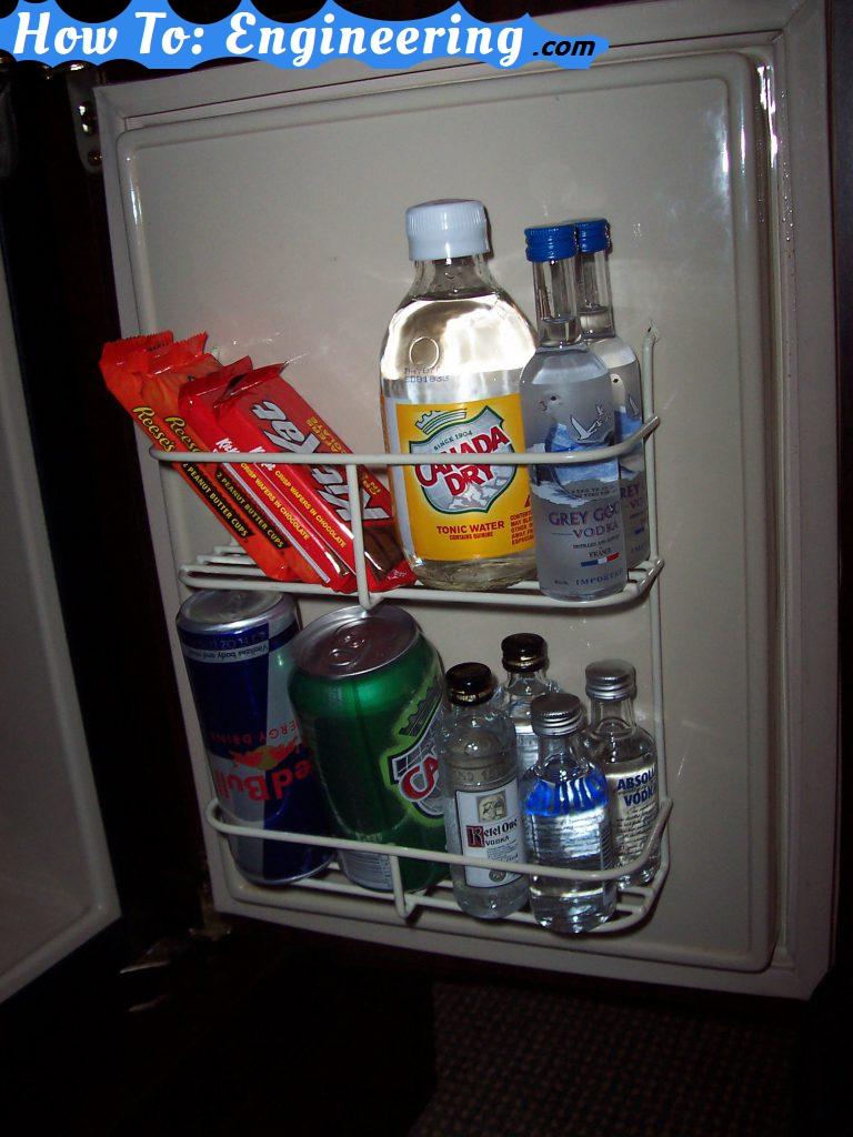 hotel mini bar fridge door