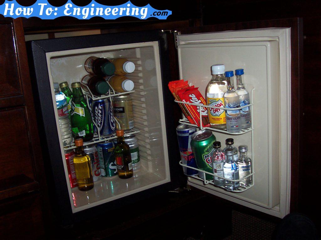 Hotel mini bar - fridge open